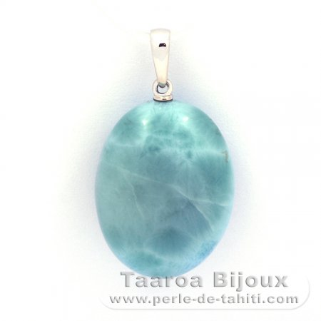 18K Solid White Gold Pendant and 1 Larimar - 23 x 17.5 x 9.5 mm - 6.55 gr
