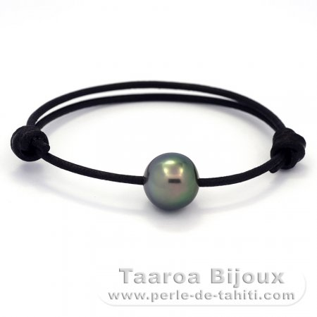 Leather Bracelet and 1 Tahitian Pearl Semi-Baroque C+ 13.6 mm