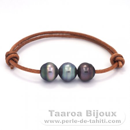 Leather Bracelet and 3 Tahitian Pearls Ringed C  10.5 to 10.8 mm