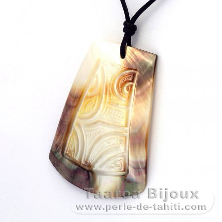 Mother-of-Pearl Pendant (Pinctada Margaritifera) and Cotton Necklace