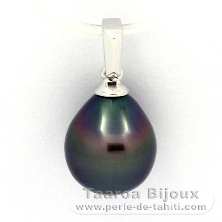 18K Solid White Gold Pendant and 1 Tahitian Pearl Semi-Baroque A 9.2 mm