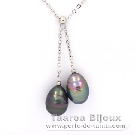 Rhodiated Sterling Silver Necklace and 2 Tahitian Pearls Ringed C 9.1 and 9.3 mm