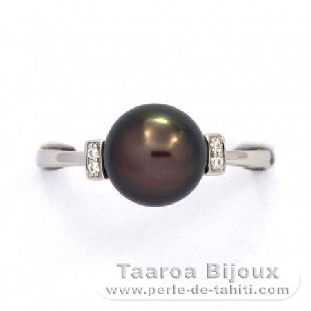 Rhodiated Sterling Silver Ring and 1 Tahitian Pearl Round B 8.8 mm
