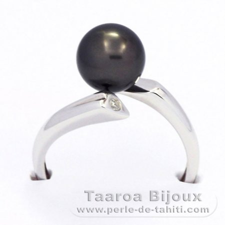 Rhodiated Sterling Silver Ring and 1 Tahitian Pearl Round B 8.3 mm