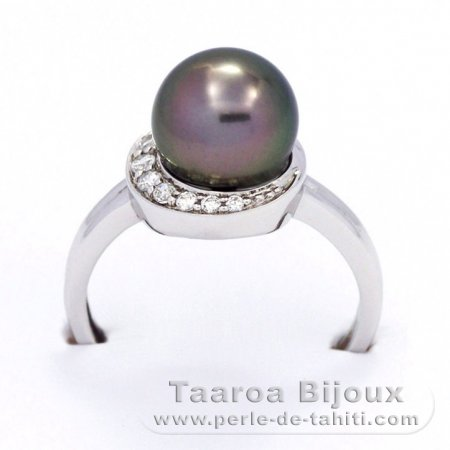 Rhodiated Sterling Silver Ring and 1 Tahitian Pearl Round C 8.8 mm
