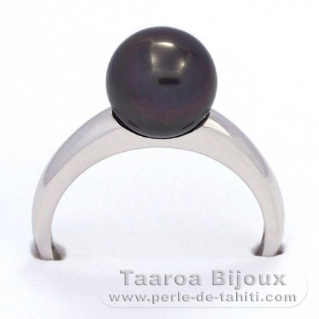 Rhodiated Sterling Silver Ring and 1 Tahitian Pearl Round B 9.2 mm