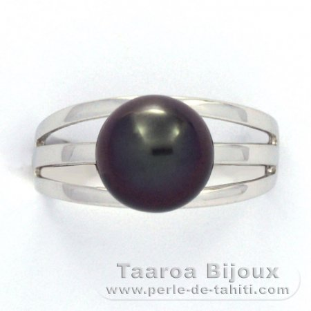 Rhodiated Sterling Silver Ring and 1 Tahitian Pearl Round C 9.5 mm