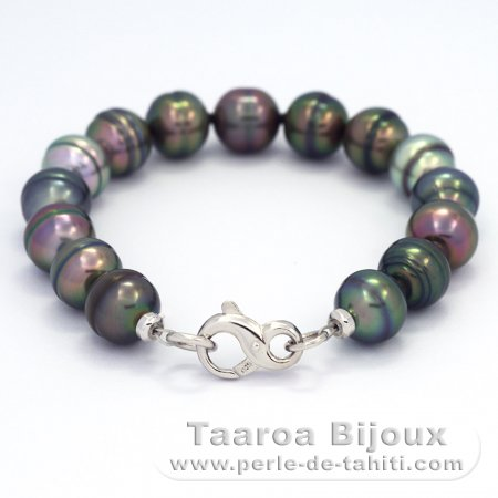 Bracelet with 15 Tahitian Pearls Ringed B  10 to 10.4 mm and Rhodiated Sterling Silver