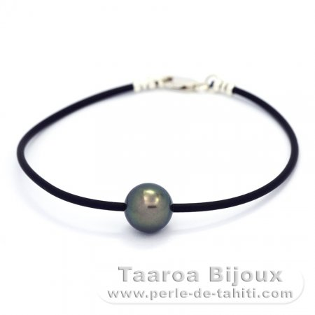 Rubber, Sterling Silver Bracelet and 1 Tahitian Pearl Round C 10.5 mm