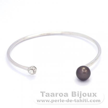 Rhodiated Sterling Silver Bracelet and 1 Tahitian Pearl Round C 8.5 mm