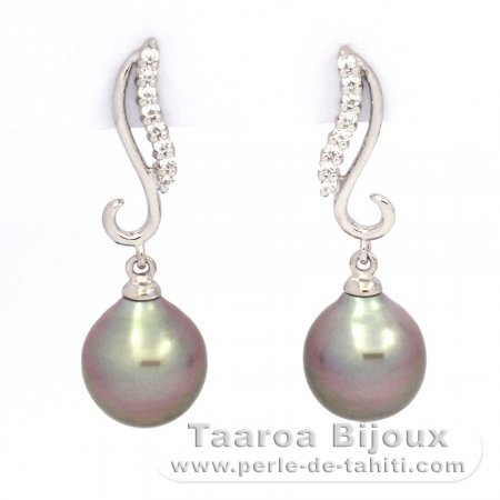 Rhodiated Sterling Silver Earrings and 2 Tahitian Pearls Semi-Baroque B 9.2 mm