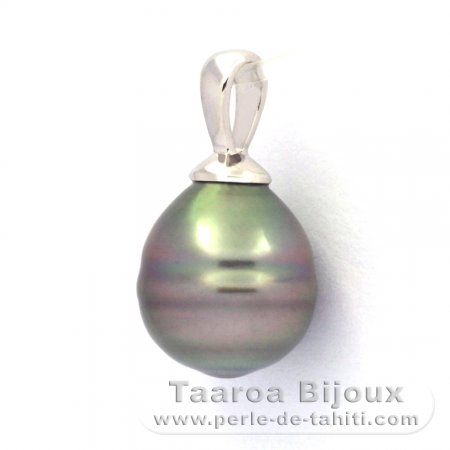 Rhodiated Sterling Silver Pendant and 1 Tahiti Pearl Ringed C 9 mm
