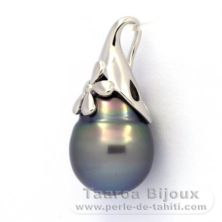 Rhodiated Sterling Silver Pendant and 1 Tahiti Pearl Ringed C 12 mm