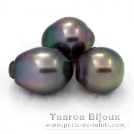 Lot of 3 Tahitian Pearls Semi-Baroque B from 10.5 to 10.9 mm