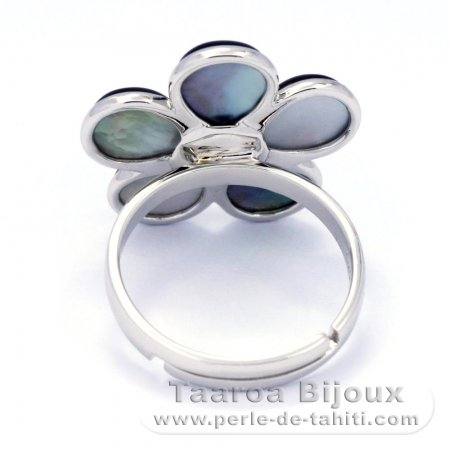 Rhodiated Sterling Silver Ring and Tahitian Mother-of-Pearl