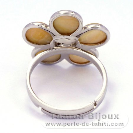 Mother-of-Pearl and Rhodiated Sterling Silver Ring