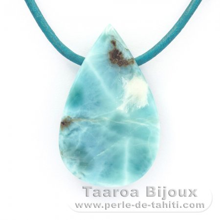 Leather Necklace and 1 Larimar - 38 x 23 x 8 mm - 12.5 gr