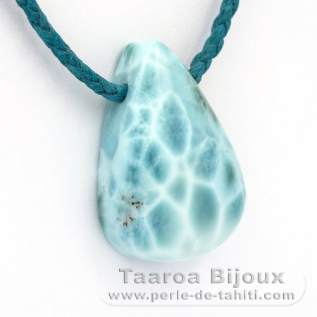 Cotton Necklace and 1 Larimar - 33 x 23 x 11 mm - 13.9 gr