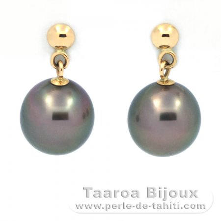18k solid Gold Earrings and 2 Tahiti Pearls Near-Round B 8.1 mm