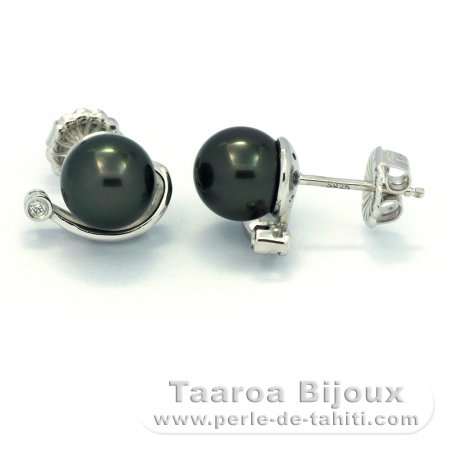Rhodiated Sterling Silver Earrings and 2 Tahitian Pearls Round B 8.2 mm