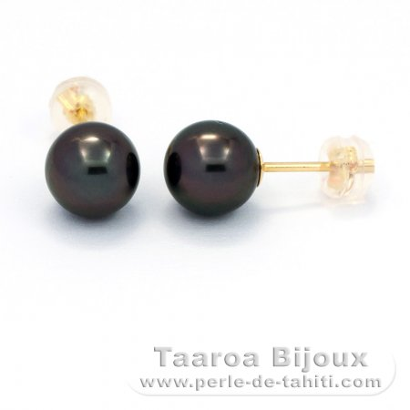 18K solid Gold Earrings and 2 Tahiti Pearls Round C 8.1 mm