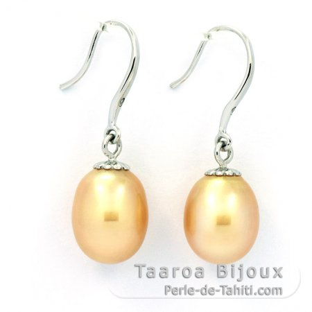 Rhodiated Sterling Silver Earrings and 2 Australian Pearls Semi-Baroque C 9.1 mm