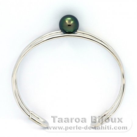 Rhodiated Sterling Silver Bracelet and 1 Tahitian Pearl Round C 10.3 mm