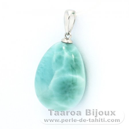 Rhodiated Sterling Silver Pendant and 1 Larimar - 20 x 15 x 8 mm - 4.3 gr