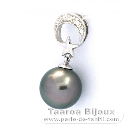 Rhodiated Sterling Silver Pendant and 1 Tahiti Pearl Round C 10.3 mm