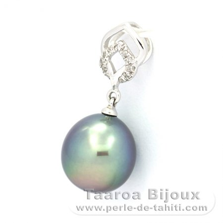 14K solid Gold Pendant + 11 Diamonds 0.04 carats VS1 and 1 Tahitian Pearl Semi-Baroque A 9.2 mm