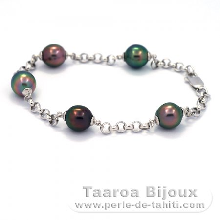 Rhodiated Sterling Silver Bracelet and 5 Tahiti Pearls Semi-Baroque B  8.8 to 9.2 mm