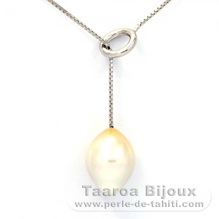 Rhodiated Sterling Silver Necklace and 1 Australian Pearl Semi-Baroque B 11.2 mm