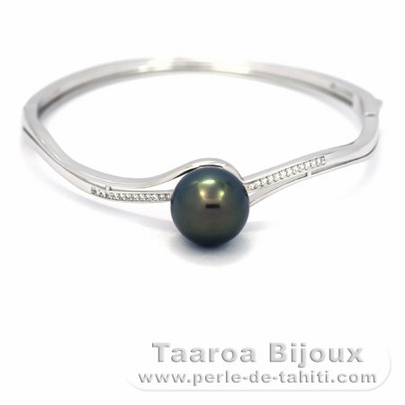 Rhodiated Sterling Silver Bracelet and 1 Tahitian Pearl Round C 12.4 mm