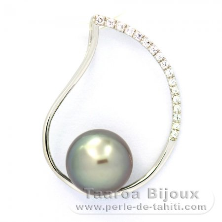 Rhodiated Sterling Silver Pendant and 1 Tahitian Pearl Round C 9.2 mm
