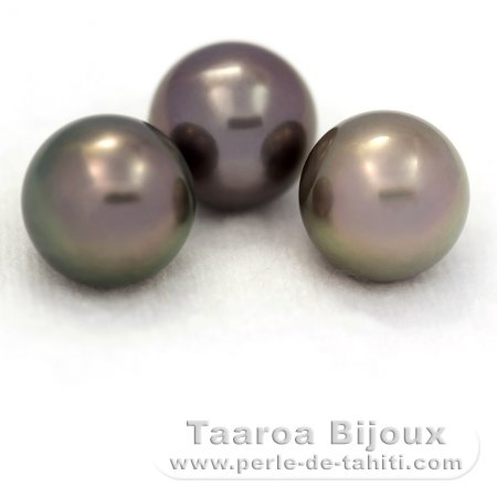 Lot of 3 Tahitian Pearls Round C from 11.2 to 11.3 mm