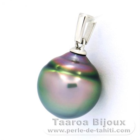 Rhodiated Sterling Silver Pendant and 1 Tahitian Pearl Ringed B 11.8 mm