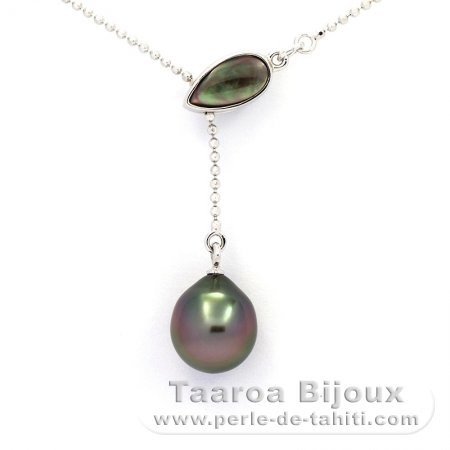 Rhodiated Sterling Silver Necklace and 1 Tahitian Pearl Semi-Baroque A 9.4 mm