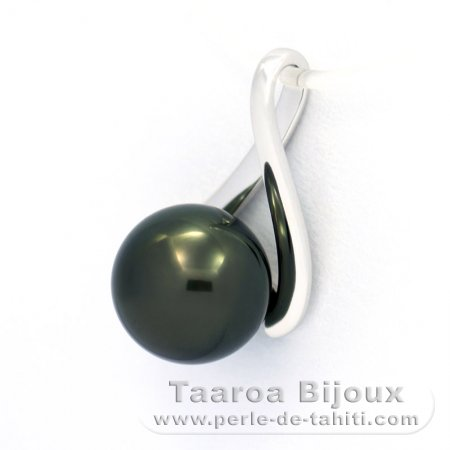 18K Solid White Gold Pendant and 1 Tahitian Pearl Round A 8 mm