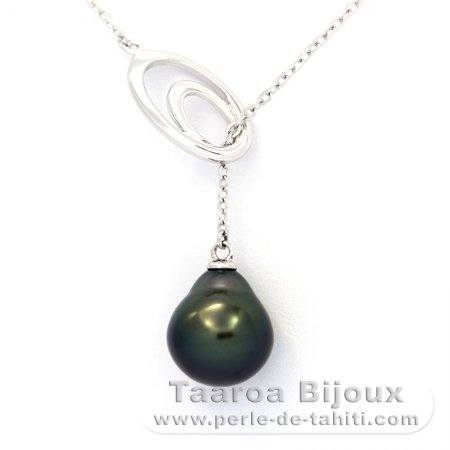 Rhodiated Sterling Silver Necklace and 1 Tahitian Pearl Semi-Baroque A 10 mm