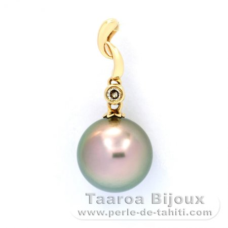 Gold 14k Pendant + 1 diamond 0.01 carat VS1 and 1 Tahitian Pearl Round A 9.5 mm