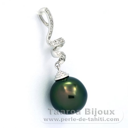 14K solid White Gold Pendant + 13 Diamonds 0.10 carats VS1 and 1 Tahitian Pearl Semi-Baroque B 11.8 mm