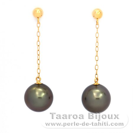 18K solid Gold Earrings and 2 Tahitian Pearls Round B 8.1 mm