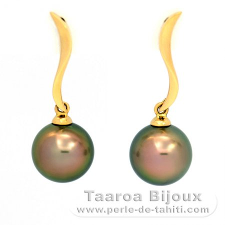 18K solid Gold Earrings and 2 Tahitian Pearls Round B 8.8 mm