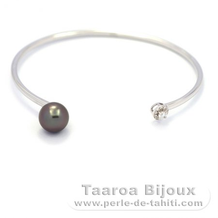 Rhodiated Sterling Silver Bracelet and 1 Tahitian Pearl Round C 8.8 mm
