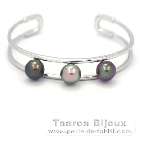 Rhodiated Sterling Silver Bracelet and 3 Tahitian Pearls Semi-Round B 9.1 to 9.4 mm