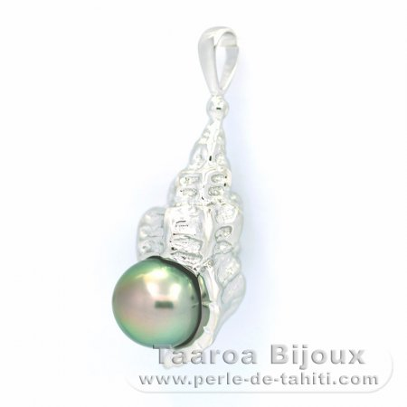 Rhodiated Sterling Silver Pendant and 1 Tahitian Pearl Near-Round C 8.2 mm