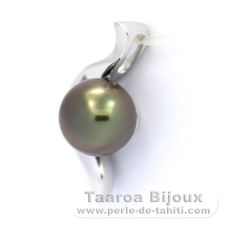Rhodiated Sterling Silver Pendant and 1 Tahitian Pearl Near-Round C 8 mm