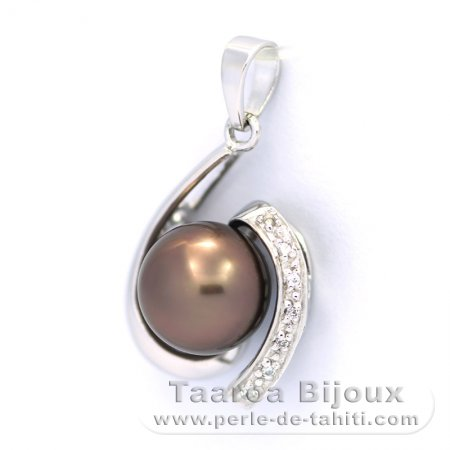 Rhodiated Sterling Silver Pendant and 1 Tahitian Pearl Near-Round C 9.3 mm