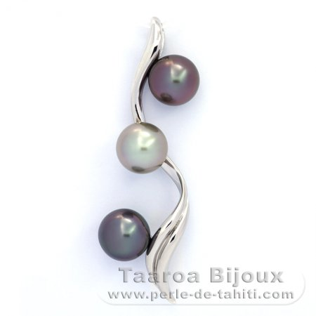 Rhodiated Sterling Silver Pendant and 3 Tahitian Pearls Round BC 9.7 to 9.8 mm