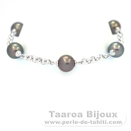 Rhodiated Sterling Silver Bracelet and 5 Tahitian Pearls Round C  9 to 9.1 mm